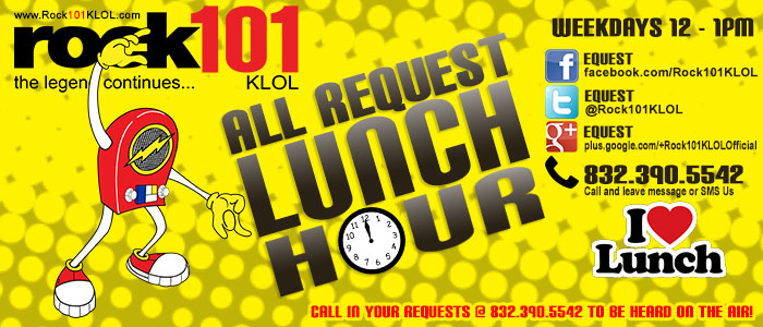 The All-Request Lunch Hour - Weekdays from 12pm-1pm CST